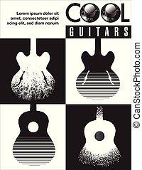 halmok, gitár, grafikus, guitars., friss