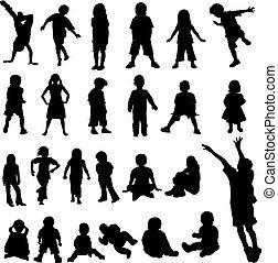 halmok, kisbabák, silhoue, gyerekek
