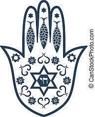 hamsa, zsidó, -, amulett, szent, nekem, vagy