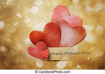 hand-crafted, piros, nap, kártya, anyák