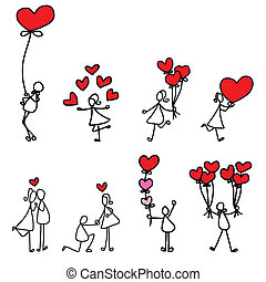 hand-drawn, szeret, karikatúra