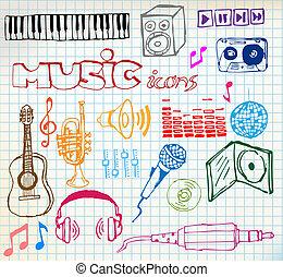 hand-drawn, zene, ikonok