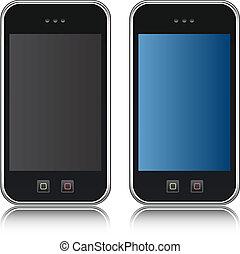 handphone, telefon, vektor, sejtekből álló, iso