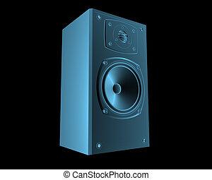 hangfal, kék, elszigetelt, fekete, áttetsző, röntgen
