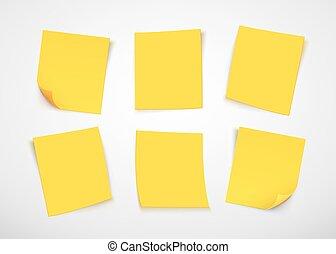 hangjegy., azt, sárga, dolgozat, note., állás