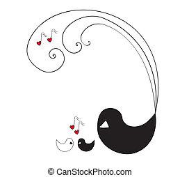 hangjegy, szeret, három, madarak
