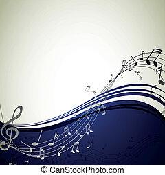 hangjegy, vektor, zene, háttér