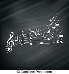 hangjegy, vektor, zene