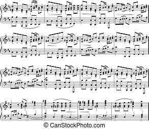 hangjegy, zene, struktúra