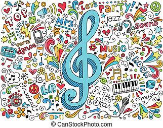 hangjegykulcs, zene, doodles, hangjegy, megszokott