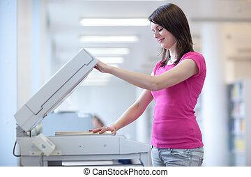 hanglejtés, image), nő, szín, (shallow, fiatal, gép, dof;, meglehetősen, használ, másol