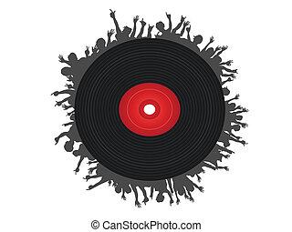 hanglemez, fekete, mindenfelé, emberek