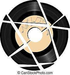 hanglemez, törött, zene, vinyl, címke