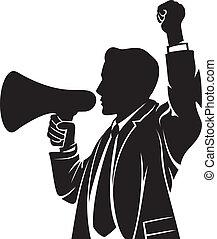 hangszóró, beszélő, ember