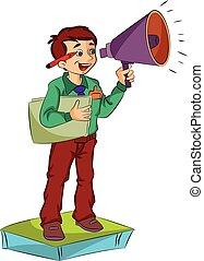 hangszóró, használ, ábra, ember