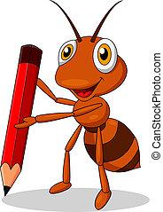 hangya, csinos, karikatúra, piros rudacska