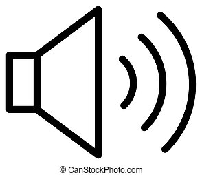 hangzik, áttekintés, vektor, beszélő, icon., illustration.