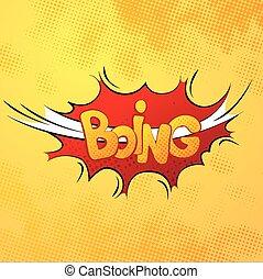 hangzik, képregény, motívum, boing, hatás, sárga, halftone