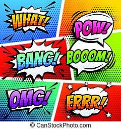 hangzik, mód, művészet, hatás, váratlanul, vektor, beszéd, komikus, buborék, karikatúra