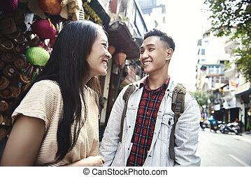 hanoi, város, párosít, boldog