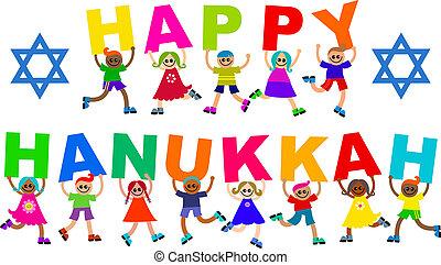 hanukkah, boldog, gyerekek, szöveg, különböző