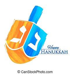 hanukkah, dreidel, zsidó, háttér, ünnep, boldog