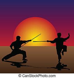 harcművészetek, félhomály