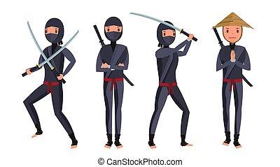 harcos, klasszikus, elszigetelt, ábra, szamuráj, mask., vector., ninja, karikatúra
