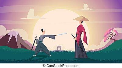 harcosok, ábra, szamuráj, harcos, vektor, akció, háttér., karikatúra, beállít, pontos, mód, ázsiai