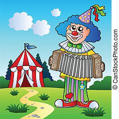 harmonika, játék, bohóckodik, sátor