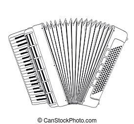 harmonika, vektor, rajz, white.