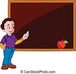 használ, chalkboard, ábra, ember