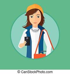 használ, nő, smartphone.