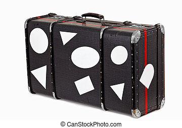 használt, öreg, utazás, bőrönd, tiszta, böllér
