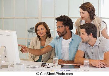 használt computer, ügy, együtt, emberek