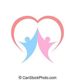 használt, konzerv, fehér, két, jelkép, szív, tervezés, vektor, emberek, ábra, lenni, jel, együtt, háttér.