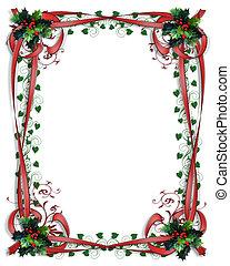 határ, 3, keret, karácsony, gyeplő, magyal