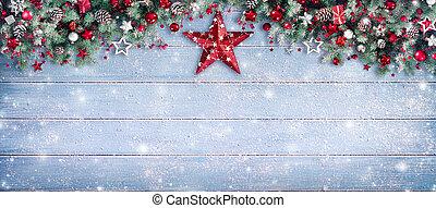 határ, -, elágazik, havas, palánk, karácsony, fenyő, díszítés