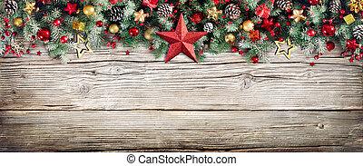 határ, -, erdő, elágazik, öreg, christmas baubles, fenyő, fejes