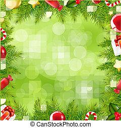 határ, karácsony, elhomályosít, fa