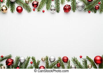 határ, karácsony, háttér, fehér