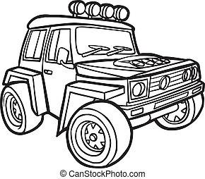 határ, karikatúra, jeep.