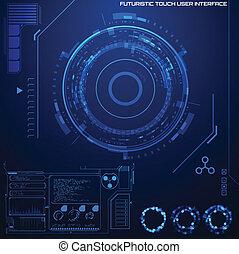 határfelület, grafikus, felhasználó, futuristic
