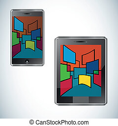 határfelület, smartphone, modern, felhasználó, lakás