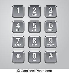 határfelület, vektor, telefon., felhasználó, keypad