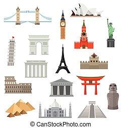 határkő, építészet, vagy, icon., emlékmű
