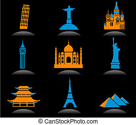 határkő, nemzetközi, 2, -, ikonok