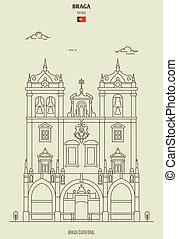 határkő, portugal., ikon, székesegyház, braga
