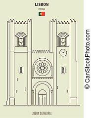 határkő, portugal., ikon, székesegyház, lisszabon