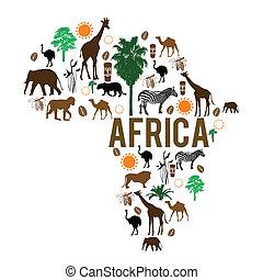 határkő, térkép, árnykép, afrika, ikonok